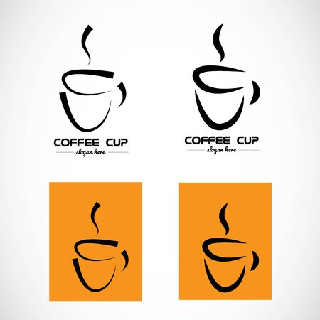 coffee company: Vector company element template of hot coffee shape contour stylized cup orange