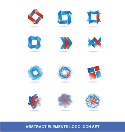 rotative: company logo icon element template set abstract circle floral square corporate business blue red gradient