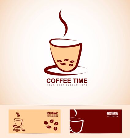coffee company: company logo icon element template hot coffee cup shop contour beans