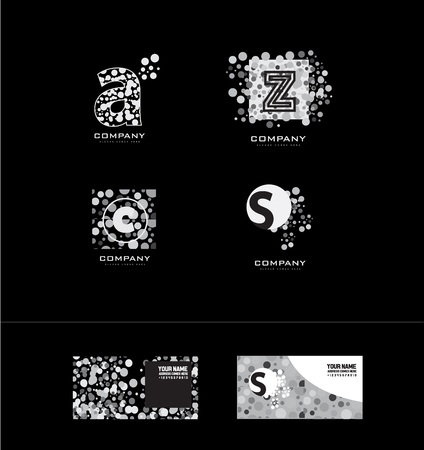 moder: company logo icon element template alphabet letter dots dotted a z c s