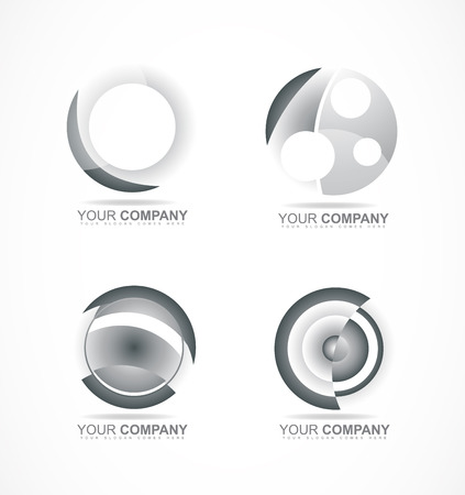 silver circle: company logo icon element template corporate business silver circle set