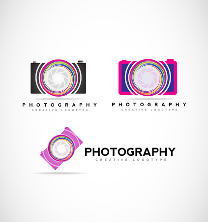 company logo icon element template photo photography camera shutter aperture set photographer