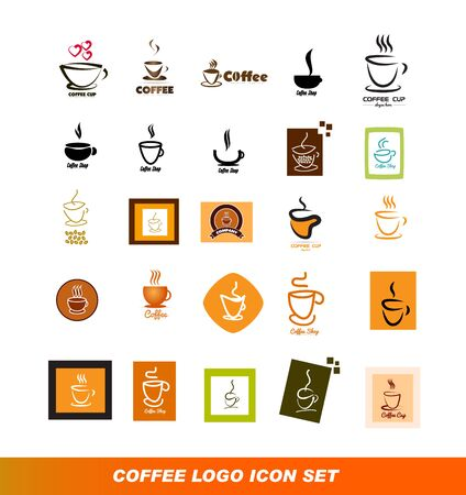 coffee company: company logo icon element template coffee cup hot shape set