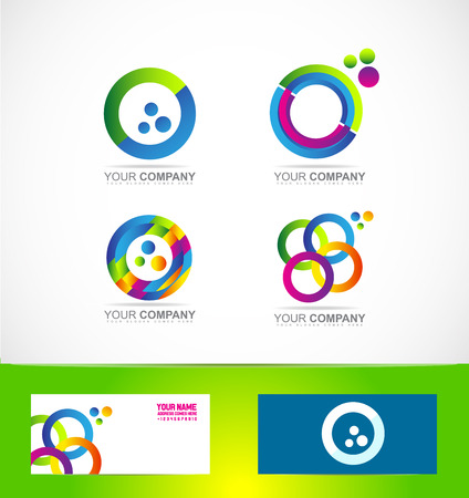 business it: company logo icon element template corporate business games media it colored circle set 3d