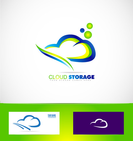 company logo icon element template cloud hosting storage data upload blue green 向量圖像