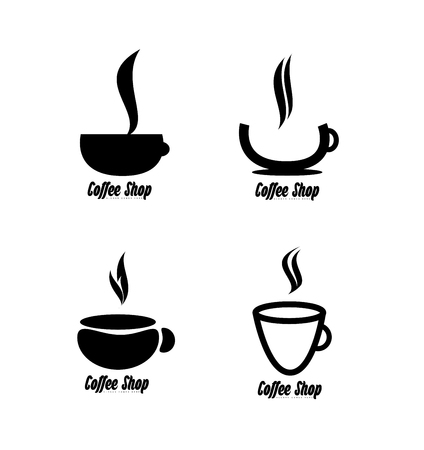 balck and white: company logo icon element template coffee shop cup balck and white contour set