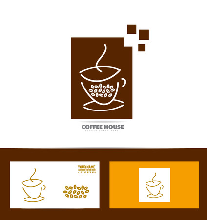 coffee company: company logo icon element template coffee cup beans shape set