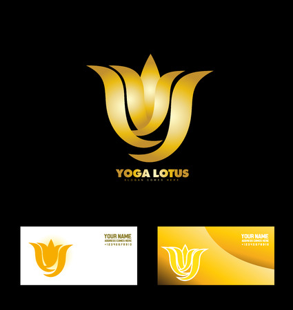 company logo icon element template gold lilly bud yoga