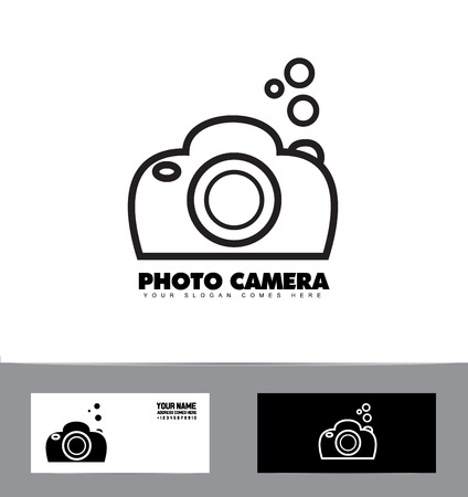 company logo icon element template photo black and white contour camera photographer dslr