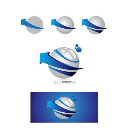 blue sphere: company logo icon element template business sphere arrow 3d