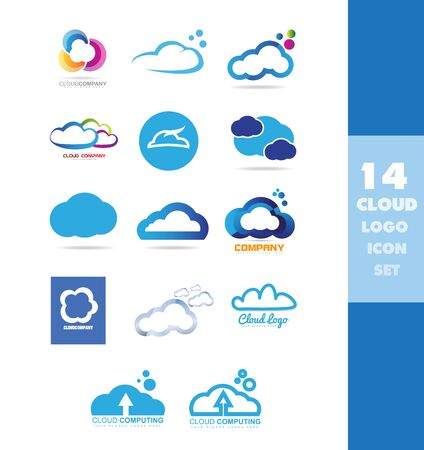 company logo icon element template cloud storage hosting computing set