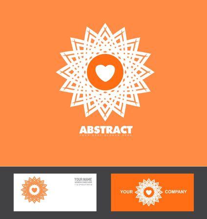flower heart: company logo icon element template pattern orange flower heart
