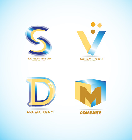 s and m: company logo icon element template alphabet letter s, v, d, m set 3d