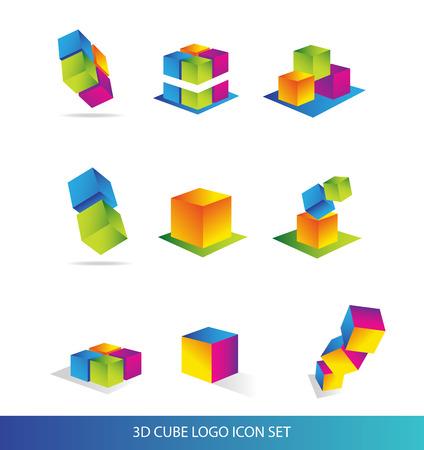 techology: company logo icon element template 3d cube colored set business techology