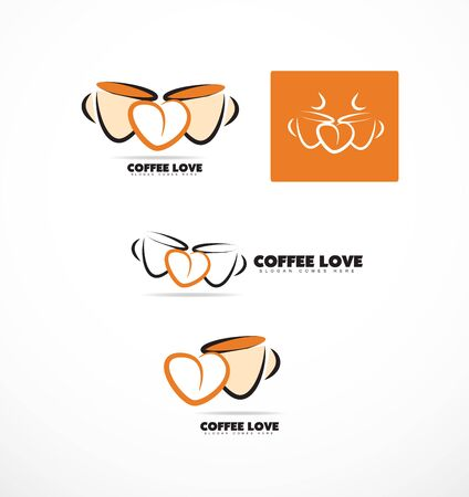 coffee company: company logo icon element template coffee cup shape love heart