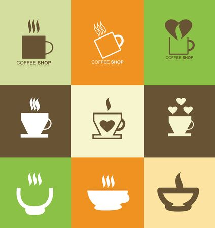 coffee company: company logo icon element template hot coffee cup set insignia badge sticker shop