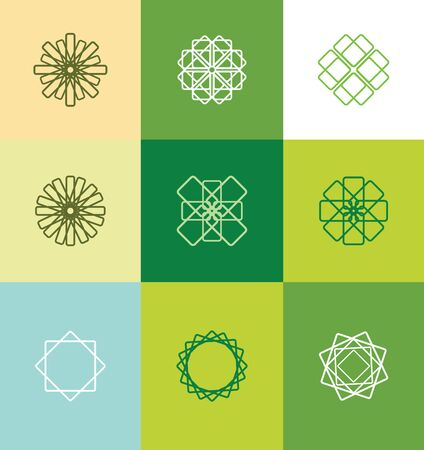 lineart: icon element template stylized abstract lineart monogram flower concept Illustration