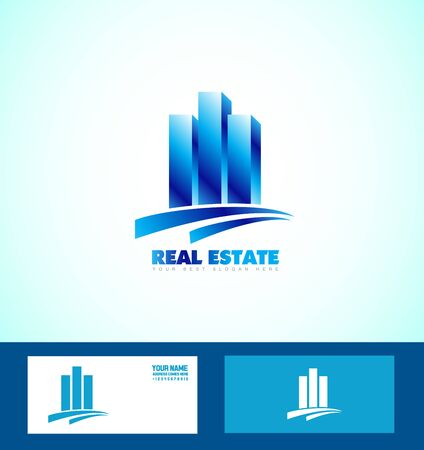 realty: company logo icon element template blue real estate realty property building skyscraper Illustration