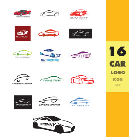 company logo icon element template car shape set auto service