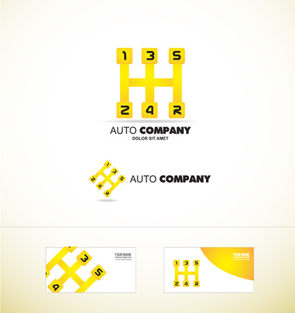 company logo icon element template auto automobile gear stick number shift yellow shifting car repair race racing Illustration