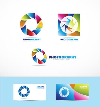 company logo icon element template photo aperture camera shutter diaphragm set