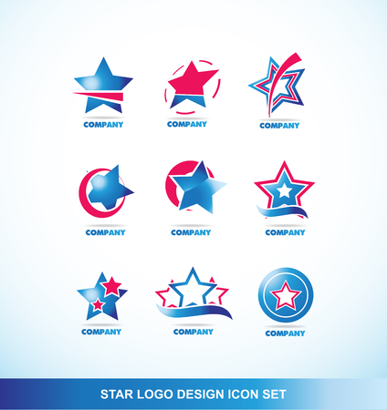 business it: company logo icon element template star blue red corporate business media it