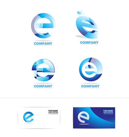 company logo icon element template alphabet letter e set blue 3d