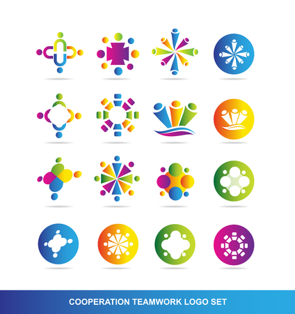 symbol people: company logo icon element template people cooperation teamwork