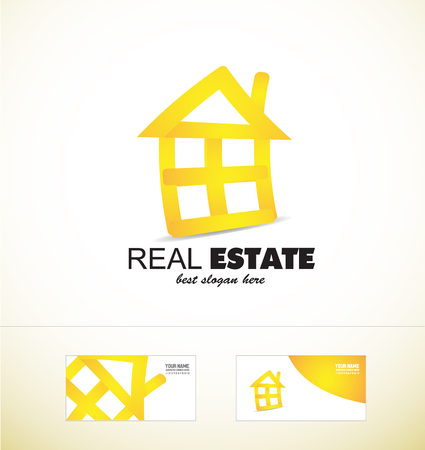 residential home: company logo icon element template real estate house home line stylized yellow abstract realty residential