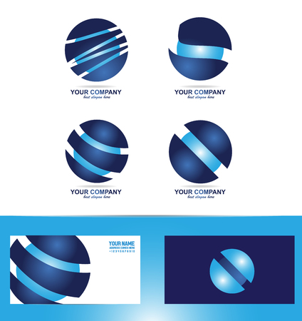 blue sphere: company logo icon element template corporate business blue sphere set Illustration