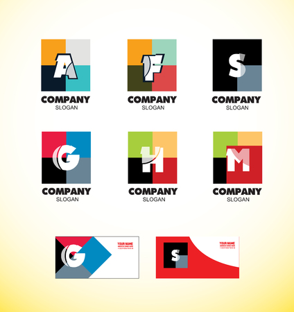 s and m: company logo icon element template alphabet letter strong colors vintage square abstract media communication it games advertising set a f s g h m