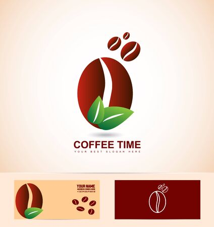 coffee company: company logo icon element template coffee beans brown green leafs organic natural
