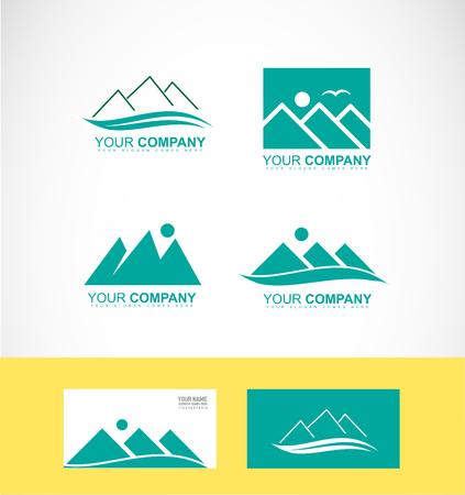 company logo icon element template mountain green peak sun bird rising behind tourism