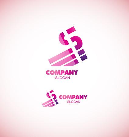 bedrijfslogo pictogramelement template letter van het alfabet s logo roze abstracte lijn media
