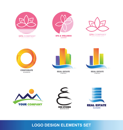 company logo icon element template spa lotus flower butterfly beauty circle corporate real estate building skyscraper mountain resort zen stone tourism