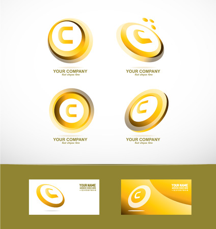 golden ring: company logo icon element template alphabet letter c set gold golden ring circle Illustration