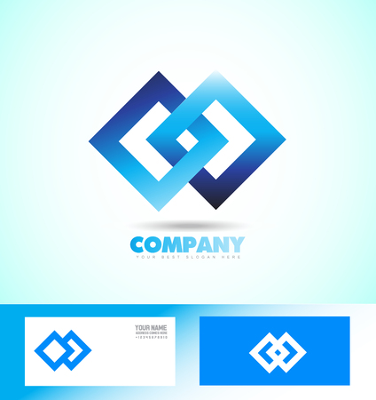 loopable: company logo icon element template seamless loopable blue square rhmobus