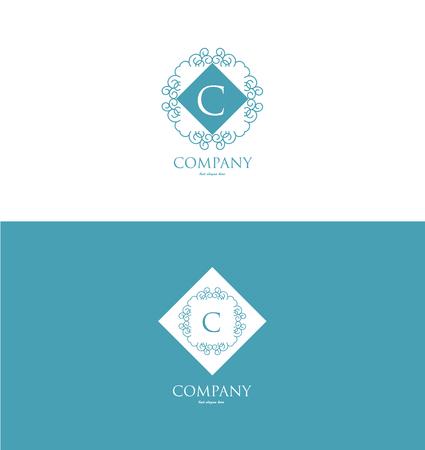 logo element: company logo icon element template alphabet letter c lineart monogram vintage blue