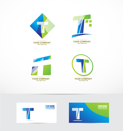 company logo icon element template alphabet letter t set 向量圖像