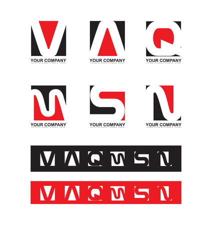 s and m: company logo icon element template red black flat alphabet letter set v a q m s n