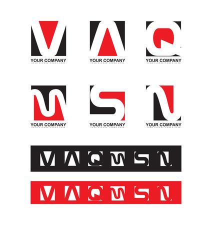 Logo icône élément modèle lettre rouge alphabet noir plat fixé vaqmsn Banque d'images - 53334061