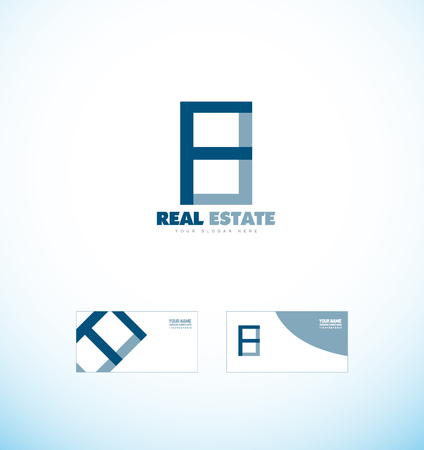 realty: company logo icon element template simple blue real estate realty building shape contour