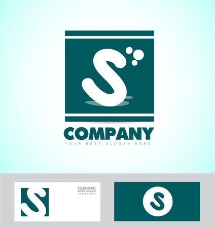 simple logo: company logo icon element template letter s simple flat green Illustration