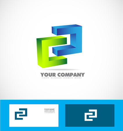 company logo icon element template 3d objects join joining concept together business corporate Illustration