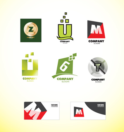 letter: company logo icon element template alphabet letter z u m u g t set business card metal silver gradeint green gold golden red Illustration