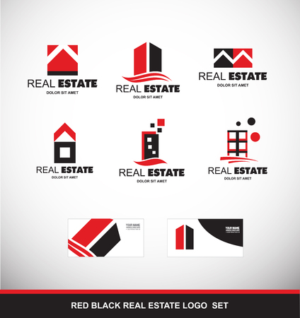 company logo icon element template abstract real estate red black property house building skyscraper home house roof stylized residential realty