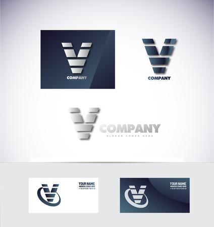 v shape: company logo icon element template alphabet letter v