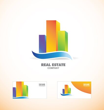 residental: icon element template 3d skyscraper buildings colors real estate blue green orange with business card Illustration