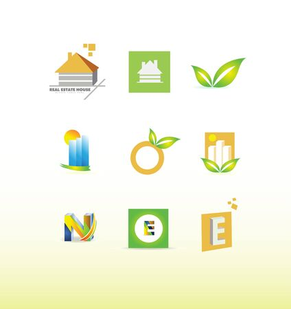 e house: icon element template set house real estate leaf green building fruit letter e n