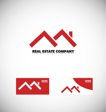 company logo icon element template real estate house home roof line red 일러스트